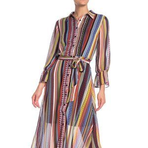 NWT ECI Geometric Striped Midi Shirt Dress